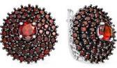 Серебряные серьги круглые Серебро России ER170905-60008 с гранатами, искусственными гранатами